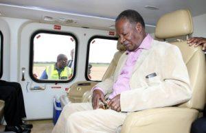 President Michael Sata at Kenneth Kaunda international airport