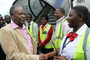 President Michael Sata greets Emirates Ground Crew members at Kenneth Kaunda international airport