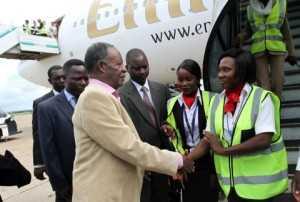 President Michael Sata on arrival at Kenneth Kaunda international airport -Picture by EDDIE MWANALEZA --