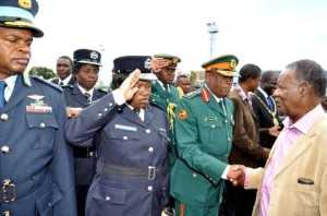 President Sata greets Service Chiefs on arrival at Kenneth Kaunda International Airport in Lusaka from London on Feb 8,2014 -Picture by THOMAS NSAMA -