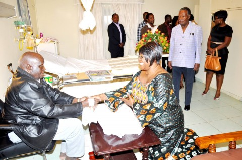 Dr Kaseba at Lusaka Trust Hospital visiting Dr Kenneth David Kaunda.2