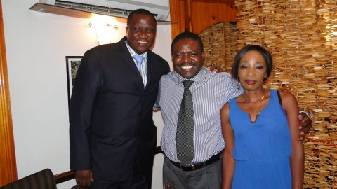 ZNBC DG Chibamba Kayama treats ZMA winners DJ Dazzle and Lady MC @ Marlin Restaurant.