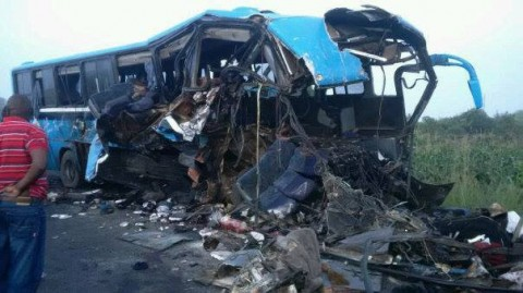 horror the death of twenty people in a road traffic accident involving a Marcopolo bus and a South African Front liner Truck and trailer in Mazabuka district