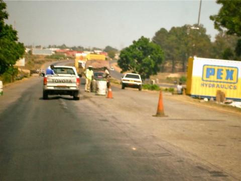 Zambia police road blocks