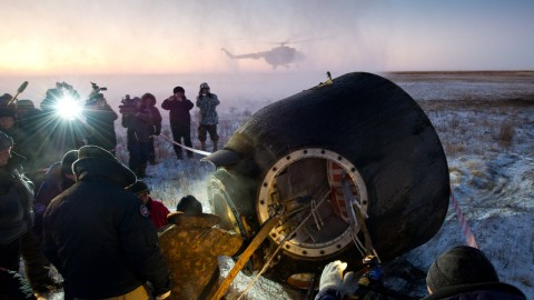 A Russian Soyuz capsule carrying a U.S.-Russian crew has landed safely in Kazakhstan, according to NASA. American Mike Hopkins and Russians Oleg Kotov and Sergey Ryazanskiy had spent 166 days in space.