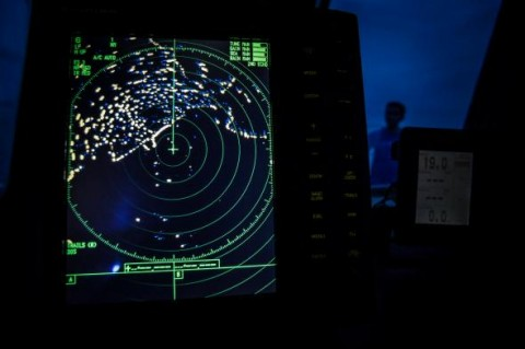 A navigational radar on Indonesia's National Search and Rescue boat shows details during a search around the northern tip of Indonesia's Sumatra island for the missing Malaysian Airlines flight on March 17, 2014.