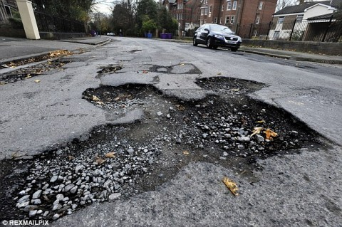 British motorists paid £22MILLION in compensation for pothole damage