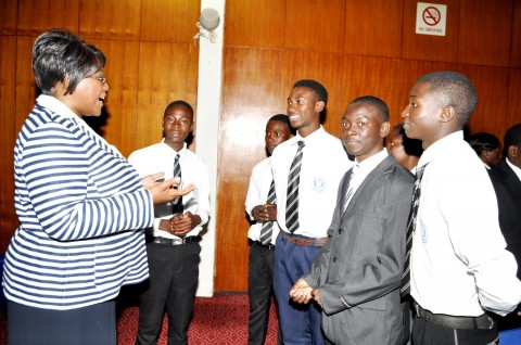 Dr Kaseba with Lusaka High Pupils during the First Lady's Youth Mentorship Programme at Mulungushi International Conference Centre on March 11,2014 -Picture by THOMAS NSAMA