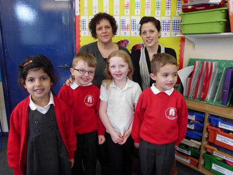 Elmtree teachers Emma Choules and Sophie Nowlan with pupils from the school