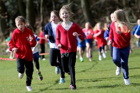 FUN RUN: Children taking part in the event at Maiden Castle