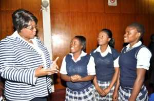 First Lady Dr Christine Kaseba interracts with Matero Girls High School pupils during the First Lady's Youth Mentorship Programme at Mulungushi International Conference Centre on march 11,2014 -Picture by THOMAS NSAMA