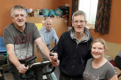 From left- Robert Hart, Michael Bruce, Minister Karl Relton and Shelley Martin took part in the 24 hour cyclathon to riase money for the trip to Zambia