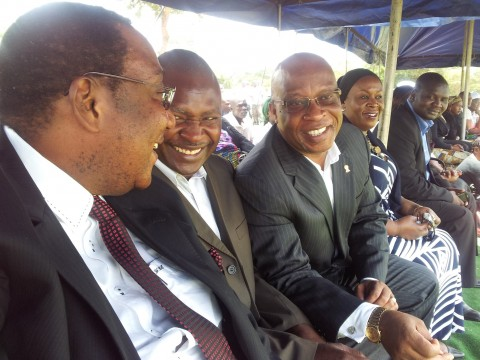 GBM, Father Bwalya , Nevers Mumba, Mrs Mumba paying last respects to MMD's Bowman Lusambo's mother