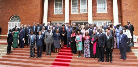 Group photo with members of the Diplomatic Corps accredited to Zambia — at State House, Lusaka, Zambia.