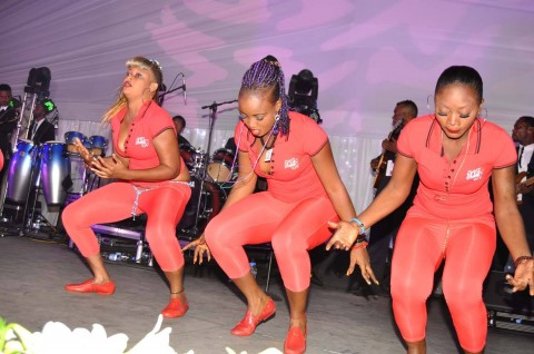 Koffi Olomide's dancing queens during the wedding ceremony of Bona Mugabe, Daughter to Robert Mugabe , President of the Republic of Zimbabwe and Simba at President Mugabe's private residence in Harare,