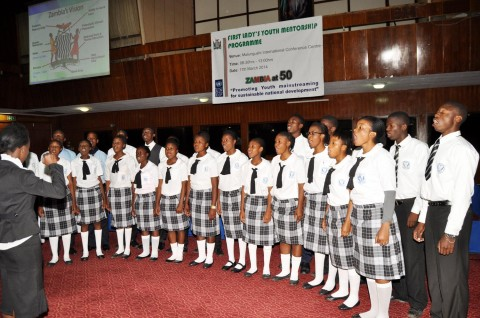 Lusaka High School pupils during the First Lady's Youth Mentorship Programme at Mulungushi International Conference Centre on march 11,2014 -Picture by THOMAS NSAMA