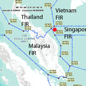 This map depicts several International Civil Aviation Organization (ICAO) flight information regions (FIRs). Air traffic controllers lost contact with Malaysia Airline Flight 370 near the region where Malaysia, Thailand, Vietnam and Singapore FIRs intersect (marked by the red dot).  Courtesy of the International Civil Aviation Organization