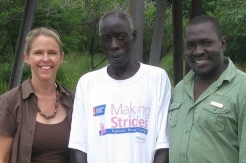 Official handover at Sinde village; Dr Sue Snyman with senior headman and Petros Guwa; clean water out of a tap!