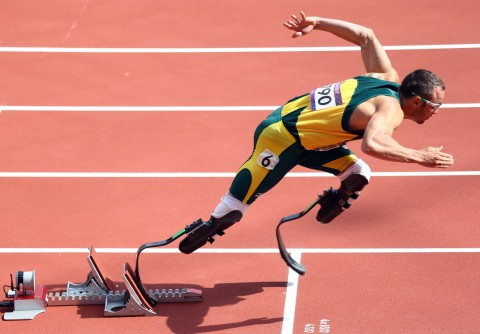 "Oscar Pistorius, the famous South African sprinter nicknamed the ""Blade Runner."