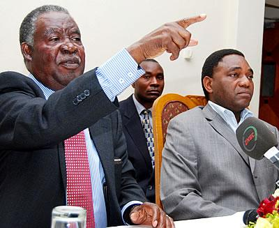 PF leader Michael Sata with his UPND counterpart Hakainde Hichilema