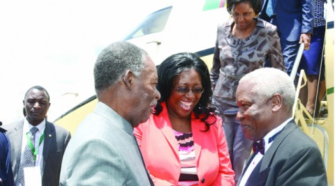 PRESIDENT Michael Sata and First Lady Dr Christine Kaseba being welcomed by Zimbabwean Defence Minister Sydney Sekeramayi on arrival at Harare International Airport. President Sata is in Zimbabwe to attend the wedding of President Robert Mugabe's daughter, Bona. Picture by EMMAH NAKAPIZYE/ZANIS