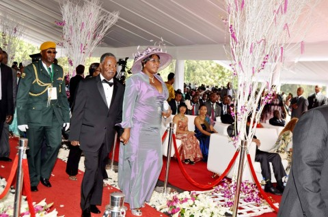 President Sata and First Lady Dr Christine Kaseba (l) arrives at President Mugabe's residence for the wedding ceremony of Bona Mugabe, Daughter to Robert Mugabe