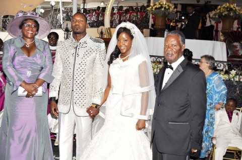President Sata with First Lady Dr Christine Kaseba (l) during the wedding ceremony of Bona Mugabe (second from right), Daughter to Robert Mugabe , President of the Republic of Zimbabwe and her husband Simba in Harare,