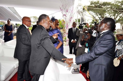 President Sata with President Jacob Zuma and Zimbabwean President Robert Mugabe during the wedding ceremony of Bona Mugabe (second from right), Daughter to Robert Mugabe