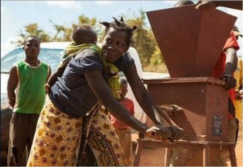 A female Zambian farmer tries out a groundnut sheller. Photograph Swathi Sridharan