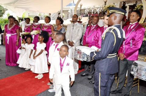 Simba Chikore and the bridal party during his wedding ceremony with Bona Mugabe, Daughter to Robert Mugabe