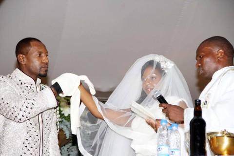 Simba Chikore with Bona Mugabe, Daughter to Robert Mugabe , President of the Republic of Zimbabwe during their wedding Ceremony in Harare