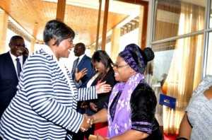 Sylvia Banda greets First Lady Dr Christine Kaseba Sata when she arrived at Mulungushi International Conference Centre for the First Lady's Youth Mentorship Programme in Lusaka on March 11,2014 -Picture by THOMAS NSAMA