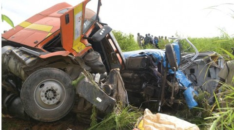THIRTEEN people died in a road traffic accident involving a Rosa minibus and a truck along the Kitwe-Ndola dual carriageway March 11, 2014..
