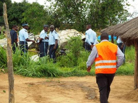 ZAF officers assisted by police and Livingstone fire brigade officers retrieve the bodies of the two pilots who crashed in Bwiketo village - Picture by Edwin Mbulo