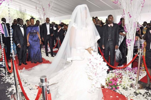 Zimbabwean President Robert Mugabe and First Lady Grace Mugabe during the wedding ceremony of their daughter Bona Mugabe and her husband Simba at their residence in Harare,