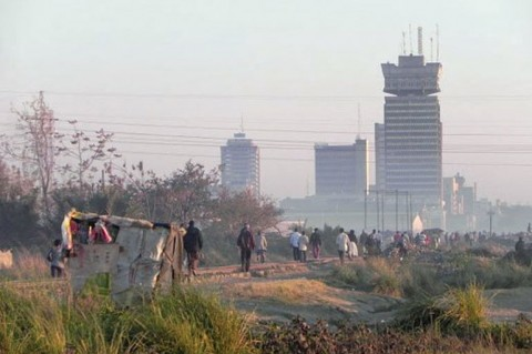 70 percent of Lusaka, Zambia, lives in unplanned slums without basic services. Wikimedia.org:Krysztof_Blazyca