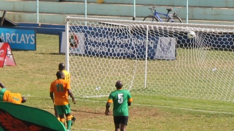 Aggrey Chiyangi – sprawled to the ground bottom left corner score a diving header