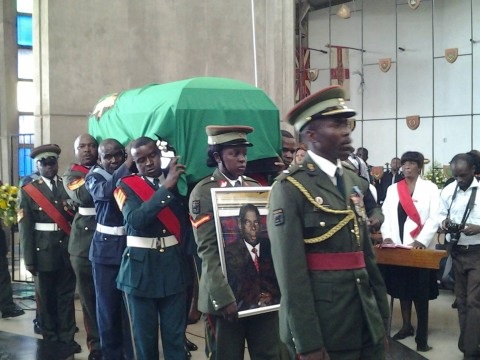 Dennis Liwewe's body has arrived at Cathedral and church service is now underway.