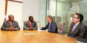 Foreign affairs minister Harry Kalaba with Commerce minister Bob Sichinga during a meeting with British Parliamentary Under Secretary of State Mr Mark Simmonds and Mr Nick Hailey director of Africa in the Foreign office in Brussels,