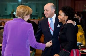 From left to right- Ms. Angela MERKEL, German Federal Chancellor; Mr Laurent FABIUS, French Minister for Foreign Affairs; Ms. Maite Emily NKOANA-MASHABANE, Minister of International Relations and Coooperation of South Africa. EU COUNCIL