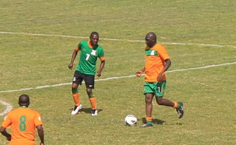 Kenneth 'Bubble' Malitoli being closely watched by Hillary Makasa. Bubble combined well with Kalu upfront in the first half