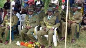 L-R Assistant Commissioners Chris Kaonga, Wilson Mbewe, Assaby Hamaleya, Patrick Nawa during the burial for late Nchelenge Officer in Charge ASP Lloyd Makoni at st. Mary`s Cemetery in kabwe