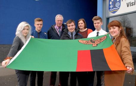 Pershore High School teachers and students are going to Zambia. From left - Seline Davies, 16, Charlie Chippendale, 17, Rupert Segar, James Neal, 17, Kate Haywood, Fred Badham, 17 and Maisie Young