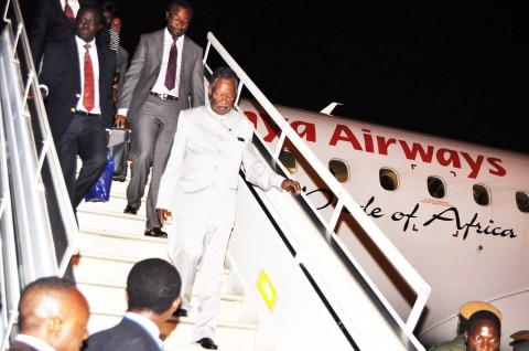 President Michael Sata arrives at Kenneth Kaunda International Airport on April 5,2014 from Brussels