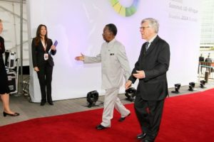 President Michael Sata arrives at the closing ceremony of the EU -AU Summit in Brussels on Thursday 03-04-2014 -Picture by Eddie Mwanaleza — in Belgium.
