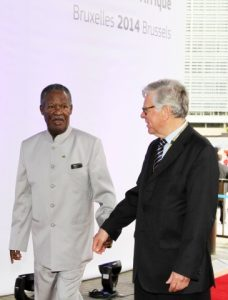 President Michael Sata arrives at the closing ceremony of the EU -AU Summit in Brussels on Thursday 03-04-2014 -Picture by Eddie Mwanaleza