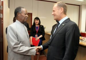 President Michael Sata confers with Polish Prime Minister Donald Tusk at Justus Lipsius building in Brussels, Belgium on Wednesday, April 2, 2014 -Pictures by EDDIE MWANALEZA — in Belguim.