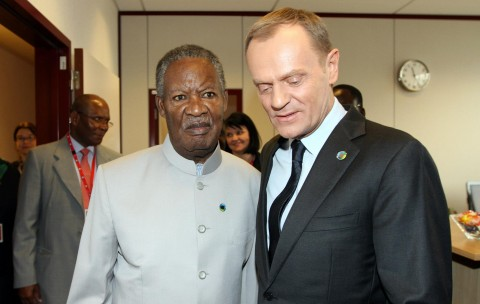 President Michael Sata with Polish Prime Minister Mr Donald Tusk at Justus Lipsius building in Brussels, Belgium on Wednesday, April 2, 2014. Picture BY EDDIE MWANALEZA — in Belguim.