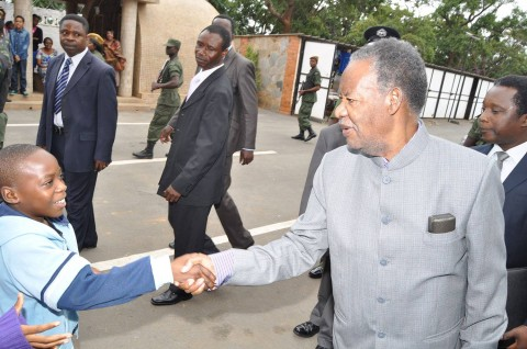 President Sata on arrival at St Ignatius Parish for the way of the Cross Service in Lusaka on April 18,2014