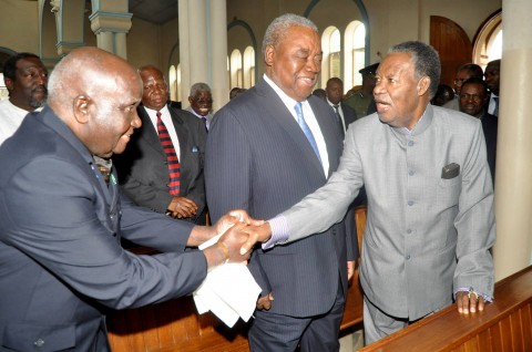 President Sata with First Republican President Dr Kenneth Kaunda and Former President Dr Kenneth Kaunda during the way of the Cross service at St Ignatius Parish on April 18,2014